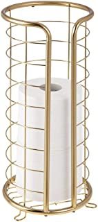 mDesign Decorative Metal Free Standing Toilet Paper Holder Stand with Storage for 3 Rolls of Toilet Tissue - for Bathroom/...