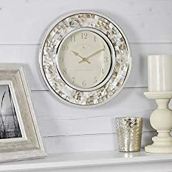 FirsTime & Co. Pearl Mosaic Wall Clock, 10.25, Natural, Chrome