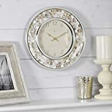 FirsTime & Co. Pearl Mosaic Wall Clock, 10.25', Natural, Chrome