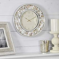FirsTime & Co. Pearl Mosaic Wall Clock, 10.25, Beach Stone