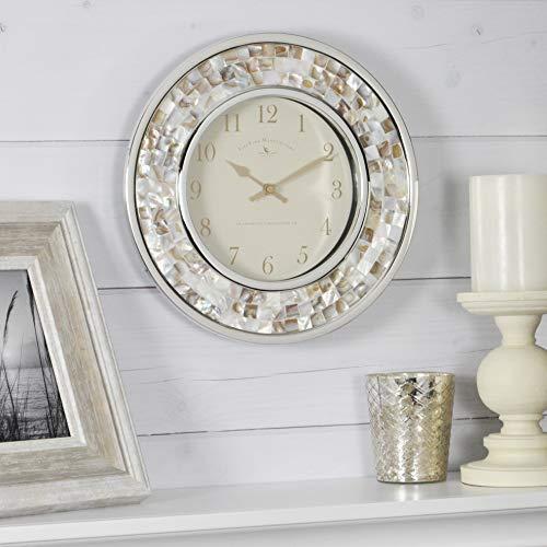 FirsTime & Co. Pearl Mosaic Wall Clock, 10.25', Beach Stone