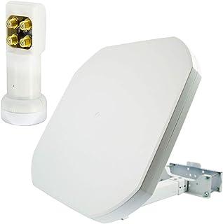 PremiumX FLAT43 Sat Flachantenne mit Quad LNB   Satellitenantenne Satellitenanlage für 4 Teilnehmer   4K UHD FullHD HD