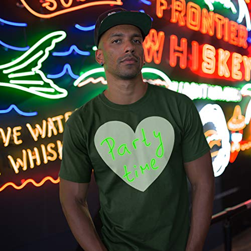 lepni.me Mens T-Shirt Interactive Neon Glow in The Dark Valentines Day Birthday Party Apparel Draw on with Led (L Black Glow in The Dark)