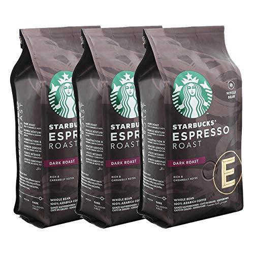 Starbucks Espresso Roast Kaffee, 3er Set, Dark Roast, Röstkaffee, Vollmundig, Ganze Bohnen, 3 x 200 g