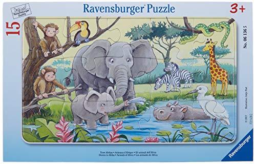 Ravensburger Kinderpuzzle - 06136 Tiere Afrikas - Rahmenpuzzle für Kinder ab 3 Jahren, mit 15 Teilen