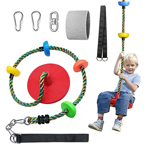Fentin Climbing Swing Rope Tree Swing Set for Backyard with Platforms Adjustable Disc Swing Seat 6.6 Feet Outdoor Playground Toy for Kids with Double-Layer 4 Feet Strap Holds 180 lbs(RS-001Red)