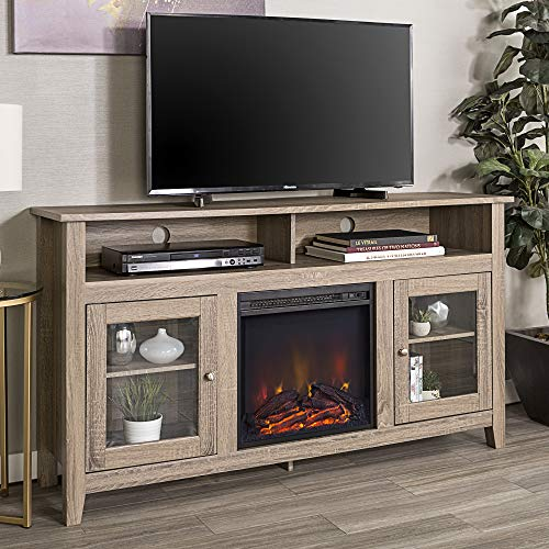 "Walker Edison Furniture Company Rustic Wood and Glass Tall Fireplace Stand for TV's up to 64"" Flat Screen Living Room Storage Cabinet Doors and Shelves Entertainment Center, 32 Inches, Driftwood"
