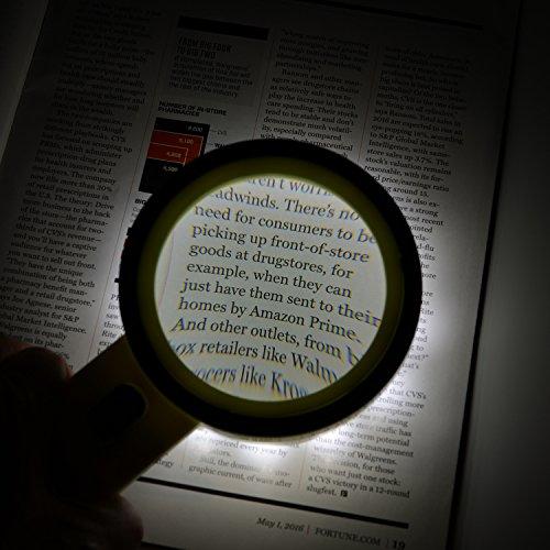 Extra große 12LED mobile Lupe und Licht, XYK 20X Beste Jumbo Größe beleuchtete Lupe für Lesen, Inspektion, erkunden, Hobbys und mehr (weiß). - 5