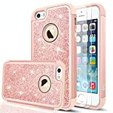 LeYi Compatible with iPhone SE Case(2016), iPhone 5 /iPhone 5S Case with Glass Screen Protector [2 Pack],Glitter Bling Girls Women Heavy Duty Protective Case for iPhone 5S/5/SE TP Rose Gold