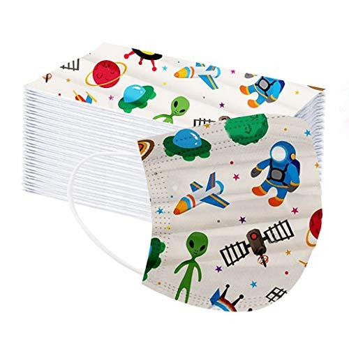 MOTOCO 50/100 Pack Kinder Multifunktionstuch Drucken Einmal Face Shields Atmungsaktive Bandana mit Ohrriemen für Jungen und Mädchen(B100)