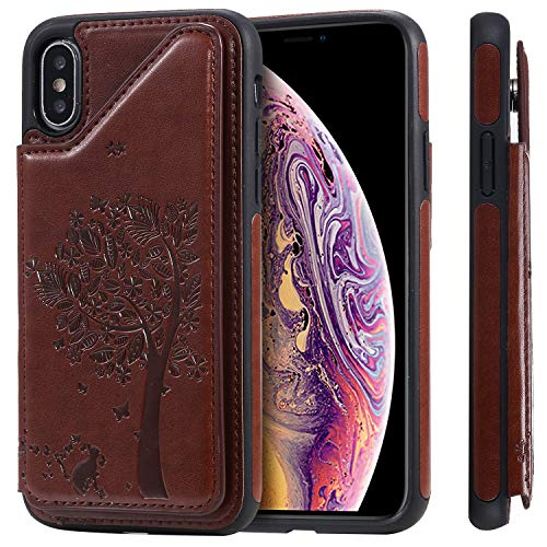 Case for iPhone Xs X,TACOO Leather Card Cash Slot Protective Cover Durable Shell Kickstand Soft Unisex Boy Girl ID Window Men Women Brown