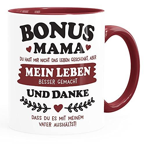 Moonworks® Kaffee-Tasse Geschenk Bonus-Mama | Bonus Papa Stiefmutter | Stiefvater zum Muttertag | Vatertag Spruch Mama bordeauxrot Keramik-Tasse