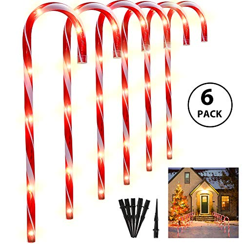 Ankuka 27 Inches Cane Candy Lights - 6 Sets Outdoor Christmas Candy Cane Pathway Markers Pre-Lit with 6 Tungsten Bulbs Per Cane for Christmas Decorations