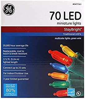 General Electric GE & Energy Star StayBright 70 LED Multi Color Miniature Lights