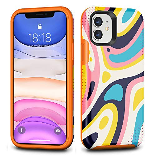 CAFEWICH iPhone 11 Case, Hybrid Shockproof Hard PC+ Soft TPE Flexible Rubber Drop Protection, Cute Pretty Stylish Slim Protective Cover for 2019 iPhone 11 6.1 Inch-Colorful Geometry