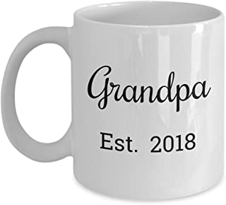 Grandpa Est 2018 Mug - Fathers Day Gift For Dad Who Was Promoted to a Grandparent - Birthday Gift For a New Grandfather - 11oz Coffee Cup