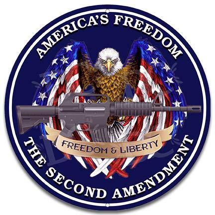 Decorative Concepts Second Amendment American Patriotic Freedom Gun Owner Rights Small 12' Metal Wall Sign