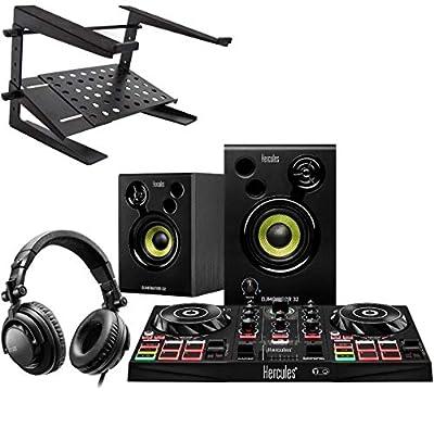 Hercules DJ Learning Kit Starter Set + Keepdrum HA-LS20 Laptop Stand