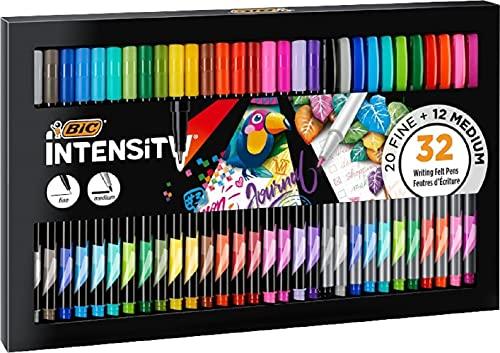 BIC Intensity Fineliner, Filzstifte Set mit 32 Stiften, mit feiner, mittlerer Spitze, Ideal für Schultüte, Schulanfang und Einschulung,Verschiedene Farben