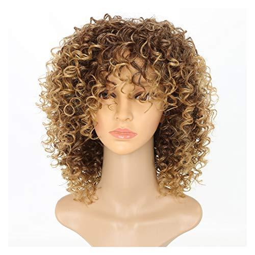 BINGYU Peluca de onda ajustable de 21 a 23 pulgadas, con flequillo de aire, peluca corta para mujer, longitud de hombro, peluca de niña, peluca de onda rizada, sintética, cosplay mixto, oro