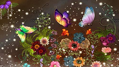 Puzzel Voor Volwassenen 1000 Stukjes, Gratis Vlinder, Retro Bloem,Puzzel Spelletjes Woondecoratie Cadeaus
