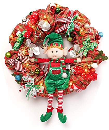 ALLYORS Pre-Lit 24 INCH Big Size Christmas Wreath Elf Door Wreath Decoration with Elf Dolls, Ribbon Bow, Candy Cane, Ball Ornaments and 20 Led Lights for Themed Home Party Décor (ELF Doll)
