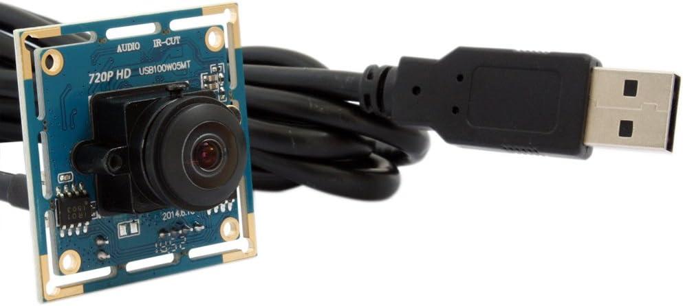 ELP Cámara web 720P HD USB, gran angular, M12, lente ojo de pez, módulo de cámara para máquina industrial, visión USB 2.0, objetivo de 170 grados, cámara web, USB100W05MT-L170