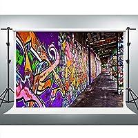 写真のための新しい落書きの壁の背景7x5ftストリートカルチャー背景写真スタジオブース小道具 0586