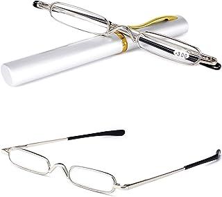 34276ba505 VEVESMUNDO Gafas de Lectura Hombres Mujer Portátil Metalicas Vista  Presbicia Leer Anteojos Con Estrechas Funda 1.0
