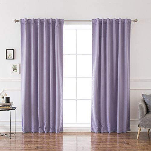 """Best Home Fashion Thermal Insulated Blackout Curtains - Back Tab/Rod Pocket - 52"""" W x 96"""" L - Lavender (Set of 2 Panels)"""