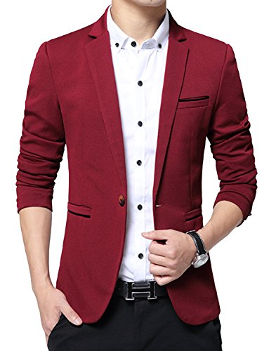 DAVID.ANN Men's Slim Fit Suits Casual One Button Flap Pockets Solid Blazer Jacket,Wine Red,Small