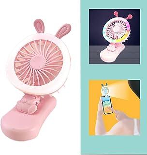 zhppac Ventilador Carro Bebe Ventilador Bebe Clip de Ventilador en el Escritorio Cochecito de bebé con Clip de Ventilador Pequeño Clip en el Ventilador Pink,Rabbit