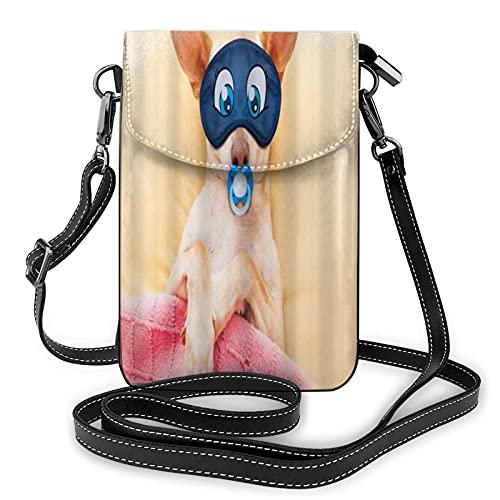 ADONINELP Leder Handytasche Umhängetasche Chihuahua Hund Schlafen Im Bett Mit Schnuller Träumen Kleine Umhängetasche Handy Geldbörse Geldbörse Handtaschen Umhängetasche Handytasche Tasche für Frauen