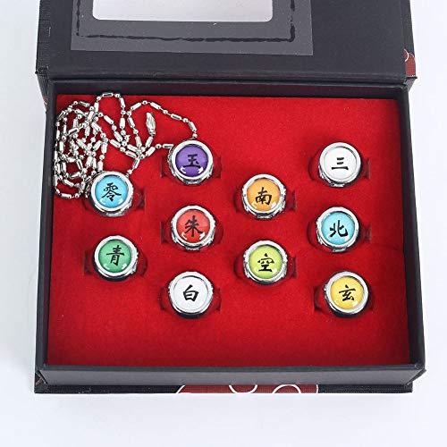 Saicowordist Naruto Bague en alliage Creative Akatsuki Collection, Ensemble de bagues Naruto, Cosplay, Unisexe, Cadeau pour les fans d'animes