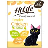 HiLife It's only Natural Kitten Food Tender Chicken, 32 x 70 g Pouches