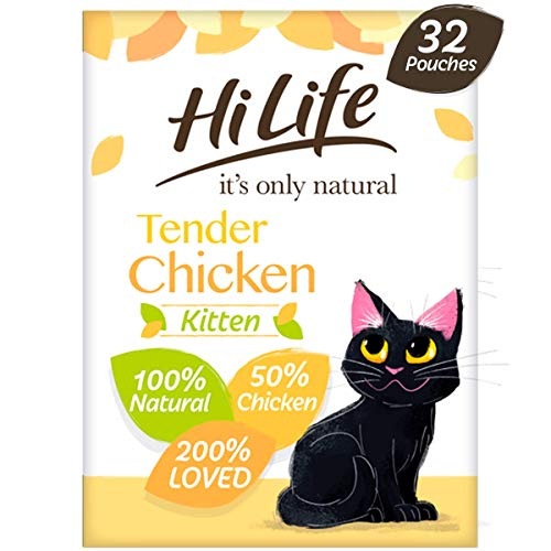 HiLife it's only natural - Complete Wet Kitten Food (1 to 12 months) - Tender Chicken Pate - Natural Ingredients Grain Free, 32 Pouches x 70g