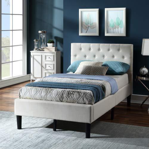 HLOEC Cama de cama de matrimonio con plataforma de lino suave, cama doble, base de cabecero, funda de somier, color beige