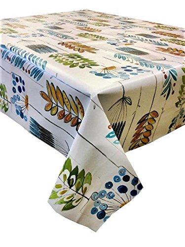 Vinyl Pvc tafelkleed 2,5 meter (250x137cm) Funky Leaves Artistiek design in blauw, groen en goud. Om aan een rechthoekige tafel met 8 zitplaatsen te passen, veeg je schoon, textiel met plastic tafelkleed (234)