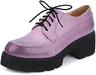 Judy Bacon Women's Classic Platform Oxford Shoes Pumps Lace-up Round Toe Mid-Heel Comfort Dress Loafer Shoes Blue