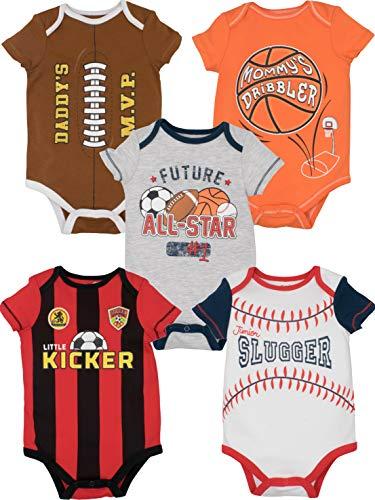 Funstuff Bodys de Deporte de Fútbol, Rugby, Baloncesto y Béisbol para Bebé Niño y Niña, 5 Uds (18 Meses)