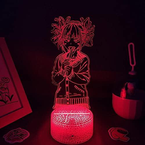 3D illusie LED nachtlampje Anime My Hero Academia Toga Himiko lamp voor kinderen kinderen slaapkamer decor Toga Himiko LED nachtlampje verjaardag geschenk lamp tafellamp 7 kleuren aanraken
