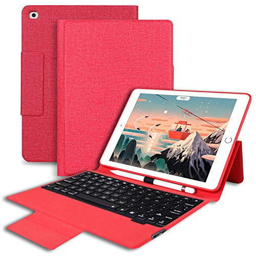 Aoub iPad 9.7 Keyboard Case with Pencil Holder for iPad 2018 6th Generation/2017 5th Generation iPad Air2 & Air1, with 7 Color Backlit ipad Keyboard 9.7 Case with Auto Sleep/Wake(Red)