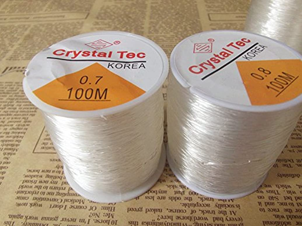 KangYuan 100 M (325 ft)/roll Clear Crystal Tec Stretch Beading Cord Elastic Thread Jewelry String Craft Tring – Beading, Home Craft (0.8 mm)