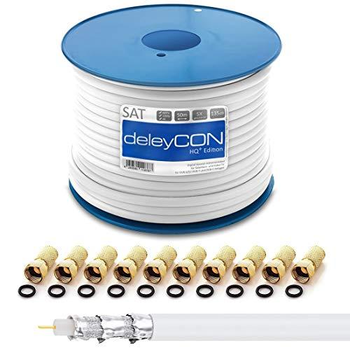 deleyCON 50m HQ+ Cavo Coassiale SAT 135dB con Schermatura Quintupla DVB-S S2 DVB-T DVB-C BK HDTV 4K 1080p Full HD + 10 Connettori F  Dorati