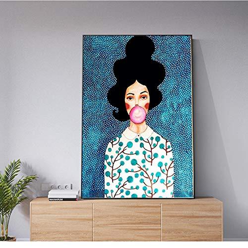 zszy Abstract olieverfschilderij meisjes blazen ballon canvas schilderij canvas print kunst wandafbeeldingen voor woonkamer decoratieve afbeeldingen -60x90cmx1 stuk geen lijst