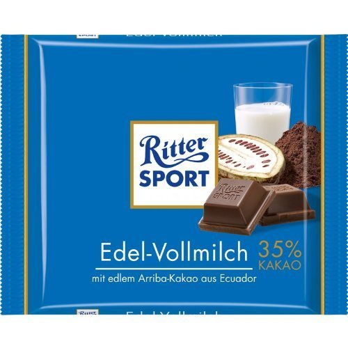 Ritter Sport Edel-Vollmilch / milk chocolate (3 Bars each 100g) - fresh from Germany by Ritter Sport