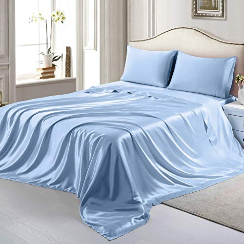 RUDONMG 4 Piece Sky Blue Satin Sheets Queen Size Satin Bed Sheets Set Silky Satin Sheet with 1 Deep Pocket Fitted Sheet+1 Flat Sheet+2 Pillowcases
