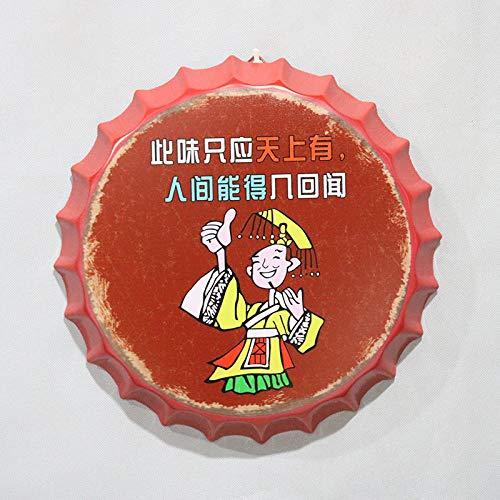 Shovv blikken poster, schilderwerk, decoratie, vintage, grappige Chinese tekens, bier, fles, stoppers, affiches, bar, café, wanddecoratie, kunst Diameter 30cm 19