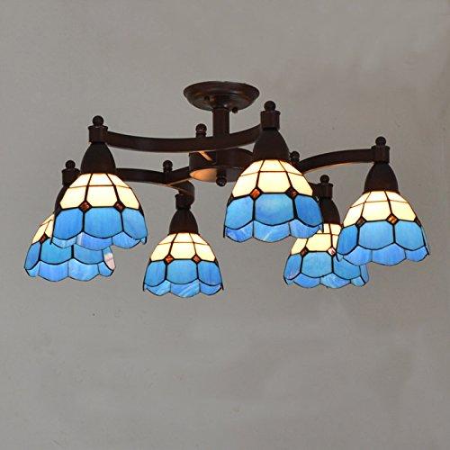 Metal mediterráneo balancines de la sala de estar sala de estudio lámparas Tiffany Pantalla de cristal lámpara de techo de sala de reuniones país rústico luces de techo
