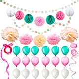 Eightnight Paper Craft Sets für DIY Party Dekorationen, Baby-Dusche, Festival einschließlich Circle Dot Girlanden, Tissue Papier Wabe Pom Pom Ball Laternen, Pom Pom Blumen, Bänder, Ballons